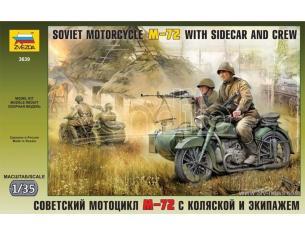 Zvezda 3639 SOVIET MOTORCYCLE W/SIDECAR M.72 KIT 1:35 Modellino