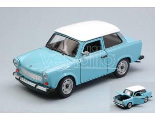 Welly WE24037SBL TRABANT 601 1964-1990 LIGHT BLUE W/WHITE ROOF 1:24 Modellino