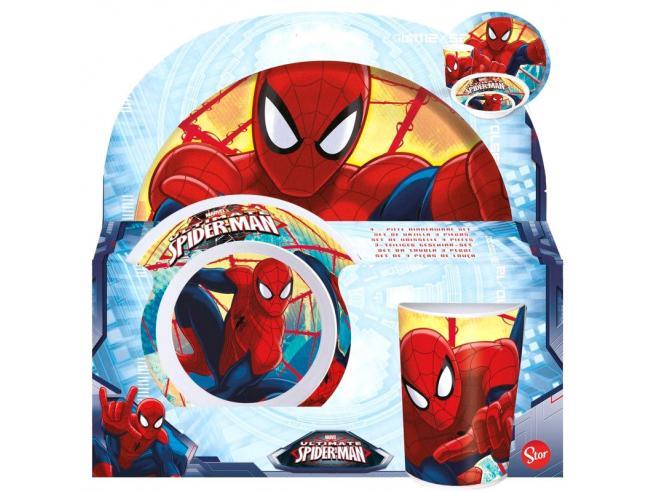 Marvel Spiderman Set Piatto, Ciotola e Bicchiere Stor