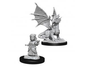 D&d Nolzur's Marvelous Miniatures Unpainted Silver Dragon Wyrmling & Female Halfling Case (6) Wizbambino