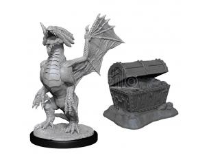 D&d Nolzur's Marvelous Miniatures Unpainted Bronze Dragon Wyrmling & Sea Found Treasure Case (6) Wizbambino