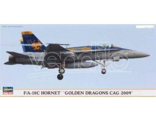 HASEGAWA 01903 F/A-18C HORNET  GOLDEN DRAGONS CAG 2009 1:72 KIT Modellino