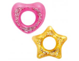 Anello Salvagente Gonfiabile Glitter Cuore e Stella Assortiti 9 cm Bestway 36141