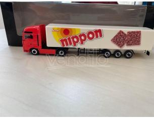 Herpa 451260 Man Tga Box Semitrailer Nippon Magic Modellino SCATOLA ROVINATA